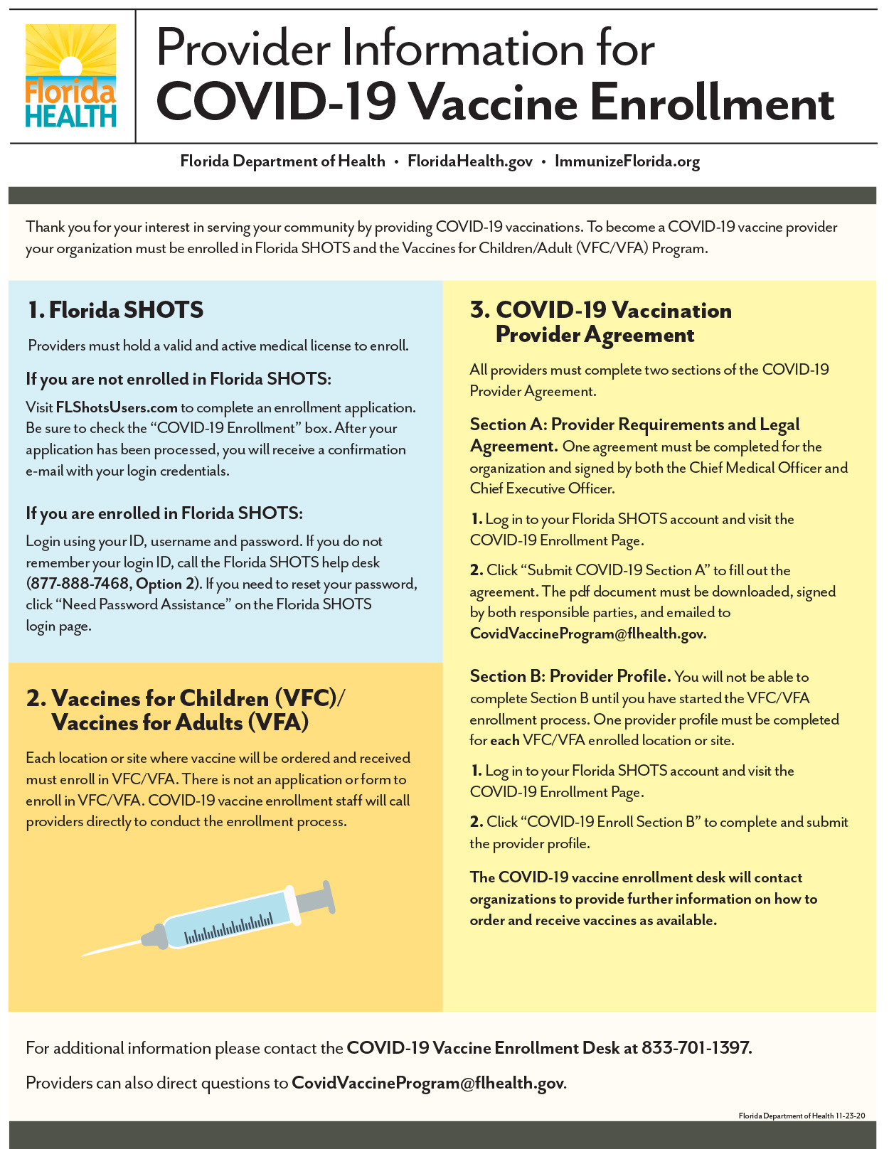 Provider Information for COVID-19 Vaccine Enrollment - FloridaDepartmentofHealth